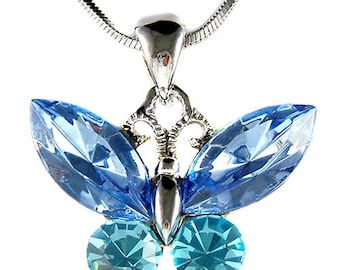 Swarovski Crystal Aqua Blue BUTTERFLY Bridal Wedding Charm Pendant Chain Necklace Jewelry Best Friend Mother's Day New Christmas Gift Cute