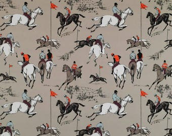 KRAVET LEE JOFA Polo Jockey Horse Toile Fabric 10 Yards Beige Brown Persimmons Multi