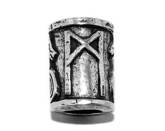 MANNAZ Survival Rune Beard Bead - Viking Celtic Ship Hair