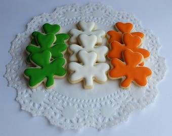 Mini St. Patrick's Day Cookies - Shamrock - Irish Flag - Shamrock Cookies - 2 1/2 Dozen Mini Bites