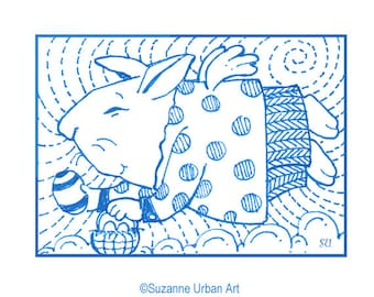 ACEO Rabbit Print, Rabbit Illustration by Suzanne Urban Art