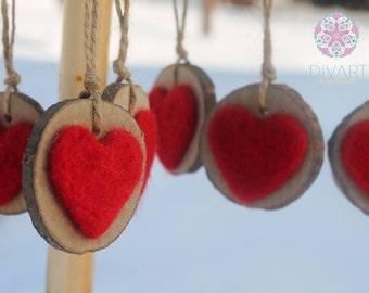 Custom Hanging Heart, Love Sharing, St. Valentine Gift, 100% Pure Wool, Needle felting, Wooden Stump, Hemp Cord, Pyrographing
