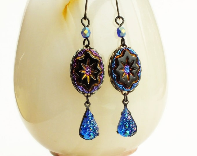 Iridescent Black Glass Star Dangle Earrings Vintage Carnival Glass Jewels Iridescent Statement Earrings Peacock Glass Jewelry