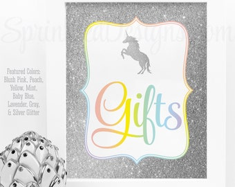 Gift Table Sign, Printable Rainbow Unicorn Birthday Party Decorations, Unicorn Party Gifts Sign, Unicorn Baby Shower Decor, Party Table Sign