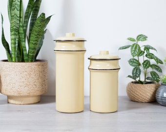 Vintage Spaghetti Canisters - Pasta, coffee, tea, Enamel Jars - Diner Style Cream and Black Stripes Kitchen Jar Storage Containers