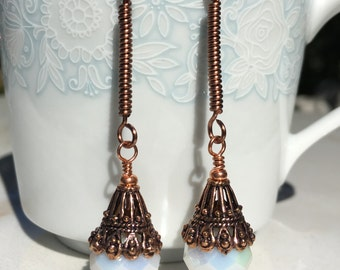 Copper Earrings, Bridal Earrings, Dangle Earrings, Gifts for her, Wire-wrapped Earrings