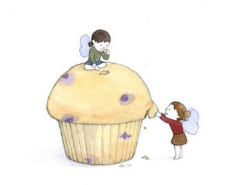 ORIGINAL Sharing a Muffin - Watercolor Painting