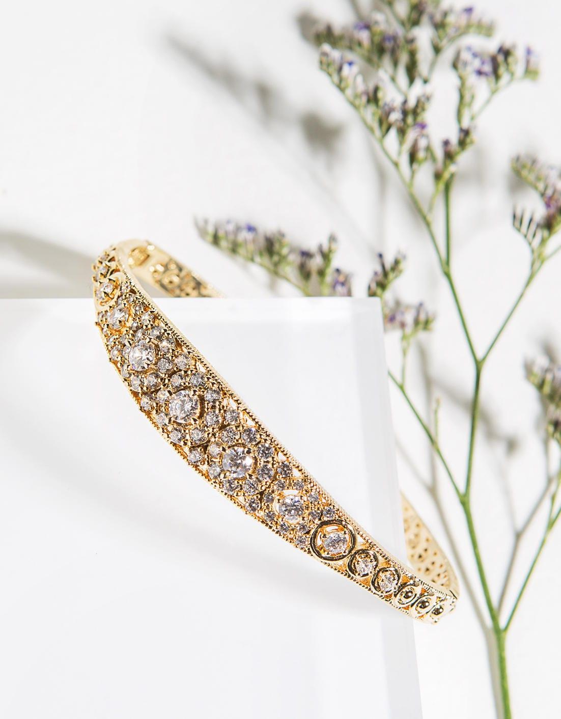 Gold Bangle Bridal Jewelry Bridal Bracelet Wedding Gold