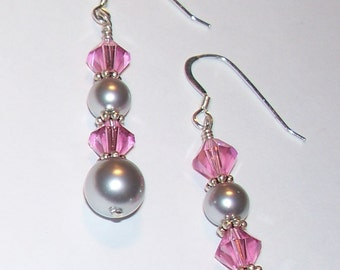 "Sterling Silver ""Splendor"" French Wire Pierced Earrings with Pink Swarovski Crystals & Gray Swarovski Pearls"