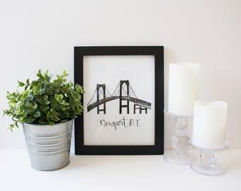 Newport Bridge print, Newport, Rhode Island, Coastal print