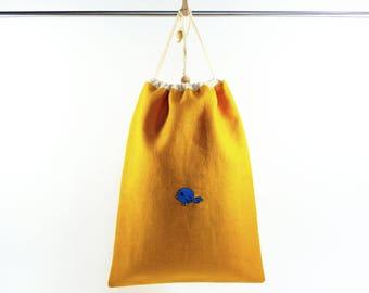 Grand sac à coulisse jaune, brodé à la main, fermeture coulisse, doublure coton, lacets serrage coton, pochon à jouets, rangement doudous