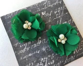 Green Baby girl Hair Clips, flower hair clips, baby hair clips, green, dark green, hair clips, flower, small flower hair clip