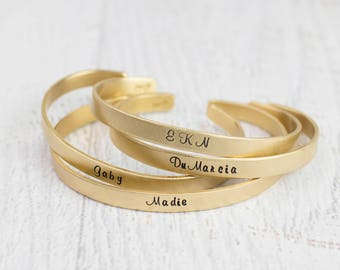 Personalized Bracelet, Custom Gold Brass Bracelet, Custom Phrase or Name, Custom Bracelet, Personalized Cuff Bracelet, Mantra, Custom Quote