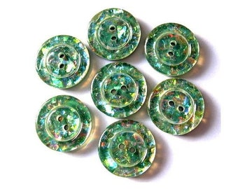 6 Vintage buttons, green with indise glitters in assorted colors, 18mm