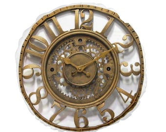 Steampunk  Clock Round Cushion