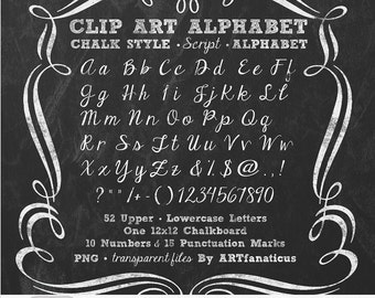 "Chalkboard Clip Art ""ALPHABET CHALK SCRIPT"" 1 chalkboard, 52 uppercase & lowercase cursive letters, 10 numbers, 15 punctuation, PNGs"