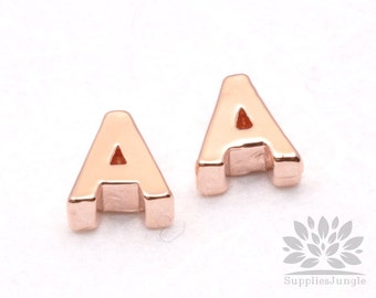 """IP002-GRG-A// Glossy Rose Gold Plated Simple Initial """"A"""" Pendant, 2 pcs"""