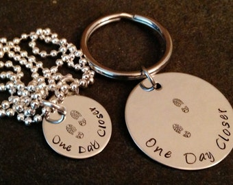 Hand stamped One Day Closer SET featuring keychain and necklace navy army Air Force Marine corps deployment wife mom girlfriend