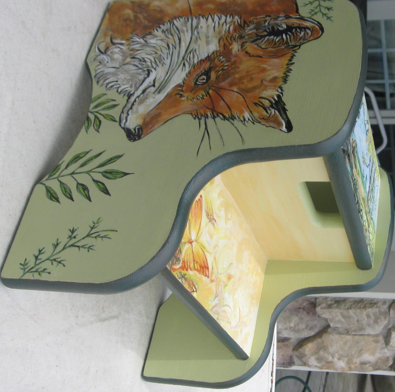 Children S Hand Painted Fox Step Stool Wildlife Animal