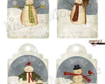 Snowman Tags, large 4 on 8.5 x 11 sheet, download & print