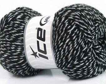 2 Skeins - Winter Yarn, Grey and Black