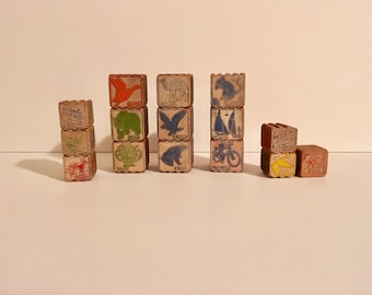 Children's Wooden Blocks / Vintage Wooden Interlocking Blocks