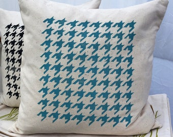 Organic cotton teal throw pillow cover houndstooth pattern indoor/outdoor cushion modern home decor accent pillow classic style