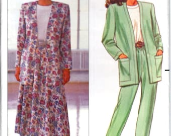 Butterick 4469 Woman's Open Front Unlined Jacket, Pullover Top, Flared Skirt, Tapered Pants Sewing Pattern Size XS-M Vintage 1980's UNCUT