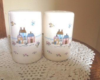 "Vintage  ""Jamestown Home"" Pattern Large Salt & Pepper Shakers"