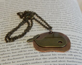 Bronze and Copper Whale Necklace