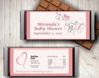 It's A Girl, Pink Baby Shower, Baby Girl Shower,  Candy Bar Wrapper, Oh Baby, Girl Baby Shower, Gender Reveal, Party Favor, Pink Baby Shower
