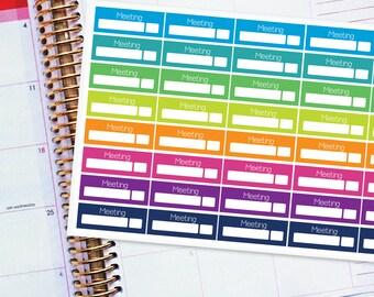 Planner Stickers Erin Condren Life Planner (ECLP) - 40 Meeting Stickers (#6001)