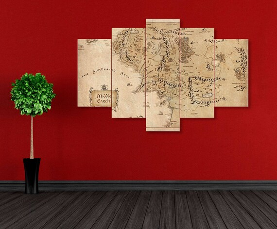 & Middle Earch Map LoTR wall art LoTR print art LoTR canvas Lord