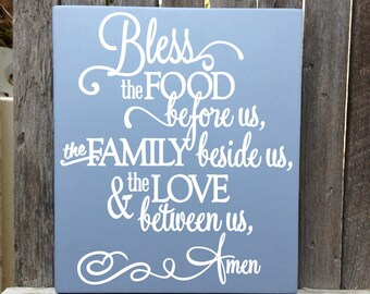 """Bless this Food Before Us Wood Sign Bless the Food Sign Kitchen Decor Food Blessing Prayer Dining Room Wall Decor Kitchen Signs 12x15"""""""