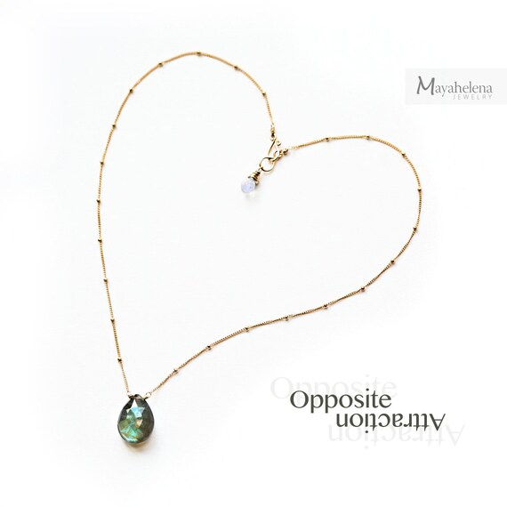 Opposite Attraction - Labradorite and Moonstone Briolettes Wire Wrapped Gold Filled Necklace