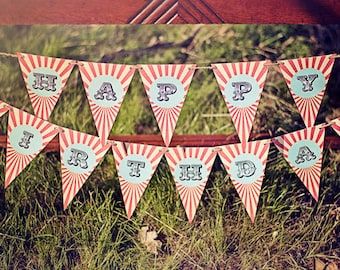 Circus Carnival Party Birthday Banner- Printable