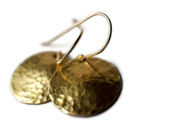 Gold Disc Earrings, Hammered Gold Earrings, Mixed Metal earrings, Hammered Earrings, Shiny Gold Earrings