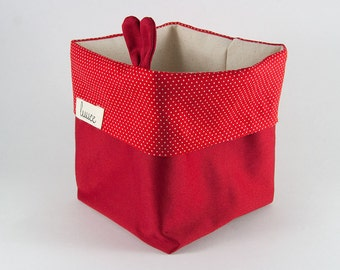 Fabric Basket/Fabric Bin/Storage Basket/Storage Bin/Nursery/Housewarming/Small Bin/Baby Shower/Plant Bin/Red/Polka Dots/Nursery Storage