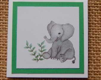 Baby Elephant Note Card Set, Elephant gift tags, Mini Notecards, Elephant Gift Enclosures, Elephant mini note cards