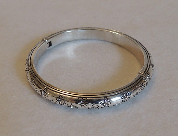 Vintage Silver Plate Hinged Bangle Bracelet With Inset Rhinestones