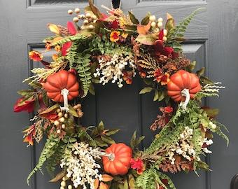 Fall Wreath, Pumpkin Wreaths, Fall Door Wreaths, Pumpkin Door Wreath, Thanksgiving Wreath, Front Door Wreath, Pumpkin Decor, Fall Decorating