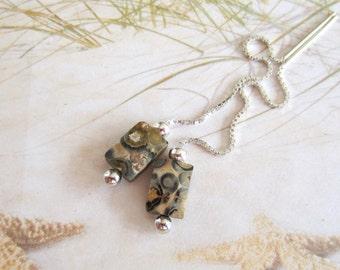 Gemstone Threaders-Sterling Silver-Leopardskin Jasper
