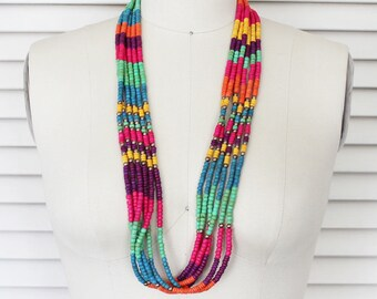 Vintage Multi Color Multi Strand Beaded Necklace / Colorful Wrap Around Choker Necklace