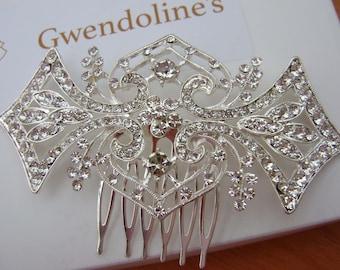 Art Deco Silver Crystal  Comb Wedding Comb Bridal Comb Prom Comb