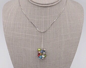 Antica Murrina of Italy sterling silver modernist Murano Glass signed pendant necklace