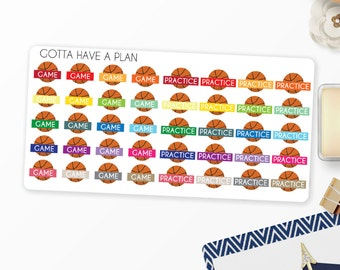 Planner Stickers Basketball Game, Basketball Practice for Erin Condren, Happy Planner, Filofax, Scrapbooking