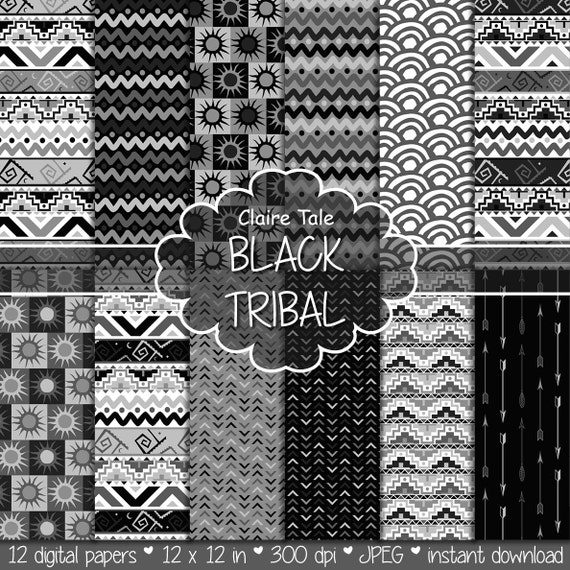 "Tribal digital paper: ""BLACK TRIBAL"" with tribal patterns and tribal backgrounds, arrows, feathers, leaves, chevrons in black"