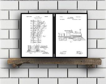 Train Patents Set of 2 Prints, Train Prints, Train Posters, Train Blueprints, Train Art, Train Wall Art, Train Prints, Train Art