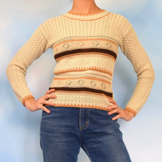 Vintage 70s Oatmeal Coffee and Caramel Striped Pullover Sweater (size small, medium)
