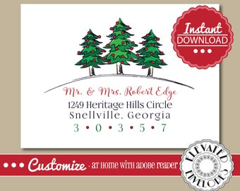 EDITABLE Christmas ENVELOPE Template,Christmas Envelope ADDRESSING,Christmas,Tree,Recipient Addressing,Envelope Addressing,Instant Download